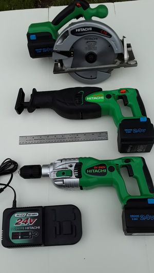 HITACHI 24V Circular Saw, Hammer Drill, Reciprocating Saw Set for Sale in Citrus Heights, CA