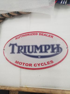 Triumph motorcycle dealer oval steel metal sign for Sale in Vancouver, WA