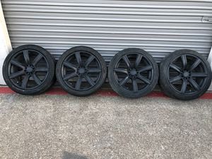 """18"""" MB black rims with staggered tires for Sale in Fort Worth, TX"""
