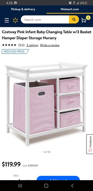 Pink Infant Baby Changing Table w/3 Basket Hamper Diaper Storage Nursery for Sale in Bellflower, CA
