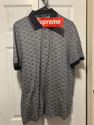 AUTHENTIC GUCCI MONOGRAM POLO SHIRT XXXL NAVY BLUE RED GREY MEN'S GG for Sale in San Leandro, CA