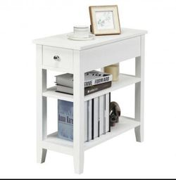 P16-16 .... 3-Tier Nightstand Bedside Table Sofa Side with Double Shelves Drawer- for Sale in Walnut,  CA