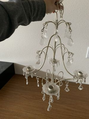 Shabby chic candle holder metal chandelier w crystals for Sale in Ridgefield, WA