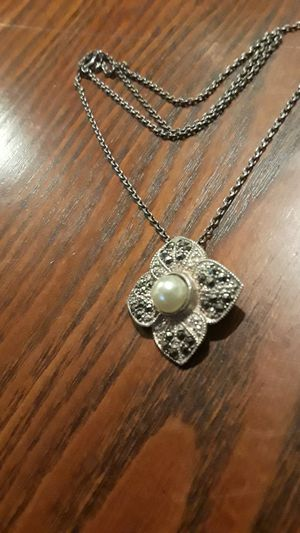 Gorgeous Sterling Silver 925 Marcasite genuine fresh water pearl pendant with Sterling Silver 925 necklace. for Sale in New York, NY