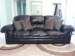 Dark brown bonded leather couch for Sale in Stockbridge, GA