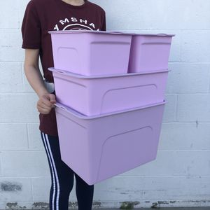 Purple Storage Box Set of 4 With Cover Lid Storage Bin Containers Plastic Box Set Household for Sale in El Monte, CA