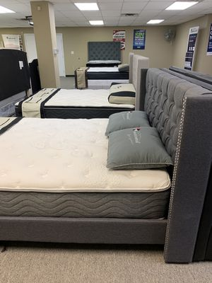 Queen promotional Mattress with bed frames on sale and special financing available with free delivery for Sale in Irving, TX