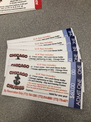 6 VIP Pass Chicago cruises and 2 passes for Laugh Factory for Sale in Des Plaines, IL