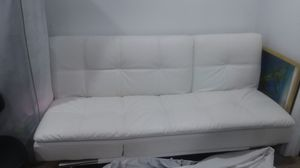 White leather futon couch for Sale in LAKE OF WOODS, VA