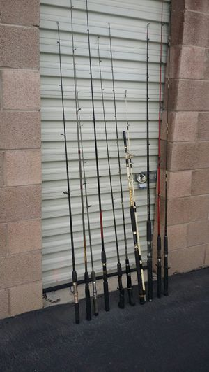 10 fine spinning and casting rods ready to fish no reels included, but I do have some spinning and casting reels in boxes for Sale in Las Vegas, NV