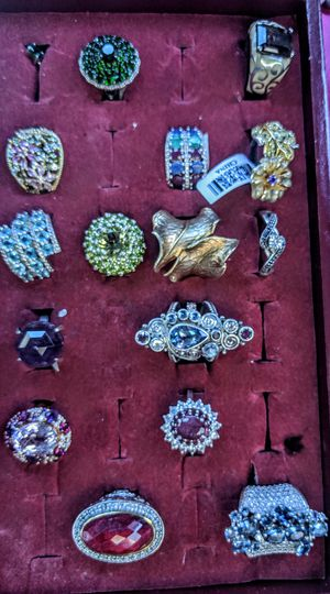 all these rings are new they're all sterling silver work 9 to 5 and they all have real gems sawaski wrski Crystals some have cubic zirconia for Sale in Las Vegas, NV
