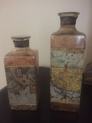 two world map collectable glass bottle candle holders for Sale in Tampa, FL