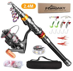 Carbon Fiber Telescopic Fishing Pole and Reel Combo with Line Lures Tackle Hooks Reel Carrier Bag for Sale in Beaumont, CA