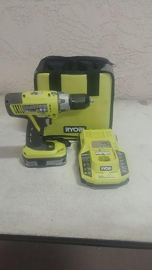 Ryobi p-239 18-volt one plus drill and 30 minute intelliport charger and bag includes 1.5 amp hour battery for Sale in Wittmann, AZ