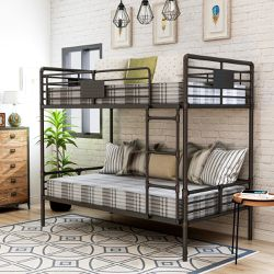 Like new Furniture of America Wini Industrial Black Queen over Queen Bunk Bed for Sale in Elmont,  NY