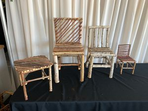 Set of 3 small wooden chairs and matching table for Sale in Fresno, CA