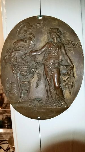 Antique Bronze Decorative Plaque in high relief FINELY DETAILED 19th C. for Sale in Los Angeles, CA