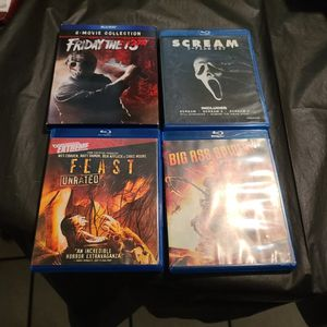Friday The 13th 8 Movie Collection + Scream 5 Film Set + Feast + BIG ASS SPIDER HORROR BLU RAY LOT for Sale in West Sacramento, CA
