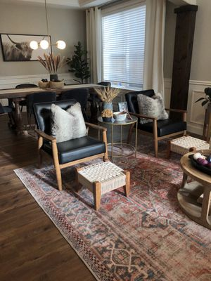 Set of two woven modern boho ottomans, stools for Sale in Maple Valley, WA