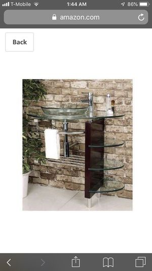 Bathroom glass wall mount vanity for Sale in Rowland Heights, CA