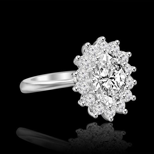 2.5 CT. Radiant Oval Halo Engagement Sterling Silver Ring Simulated Diamond - Diamond Veneer. 635R3229