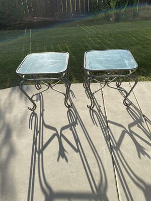 2 Glass and Iron End Tables for Sale in Clovis, CA