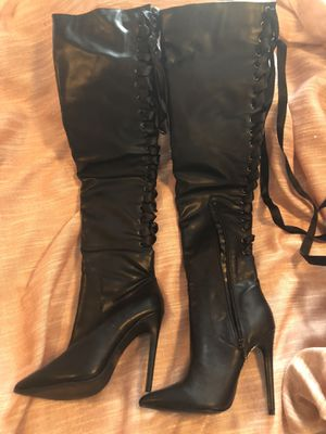 Size 6 thigh high black boots for Sale in Thornton, CO