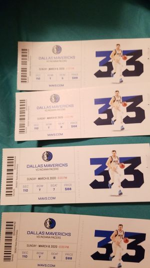 4 Mavericks vs Indiana Pacers tickets $80 each for Sale in Garland, TX