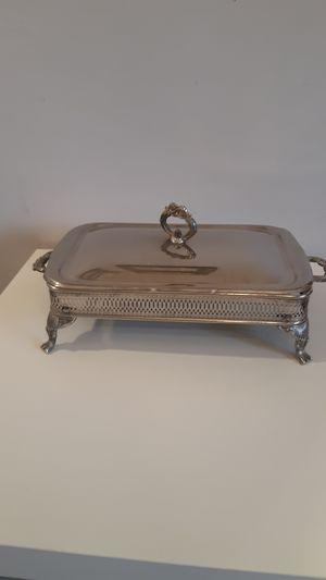 Rectangular silver plated rack with lid, for casserole dish for Sale in Sunrise, FL