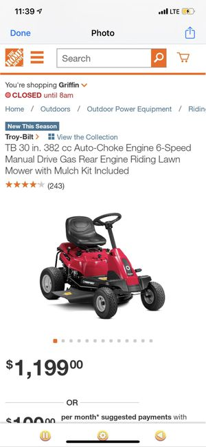Brand new Troy Built riding lawn mower with receipt for Sale in Decatur, GA