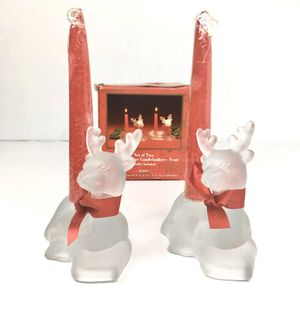 Set of 2 Frosted Glass Reindeer Christmas Candle Holders for Sale in Norwalk, CA