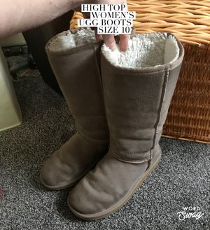 High Top Beige UGG Boots Women's Size 10 for Sale in Bloomington, IL