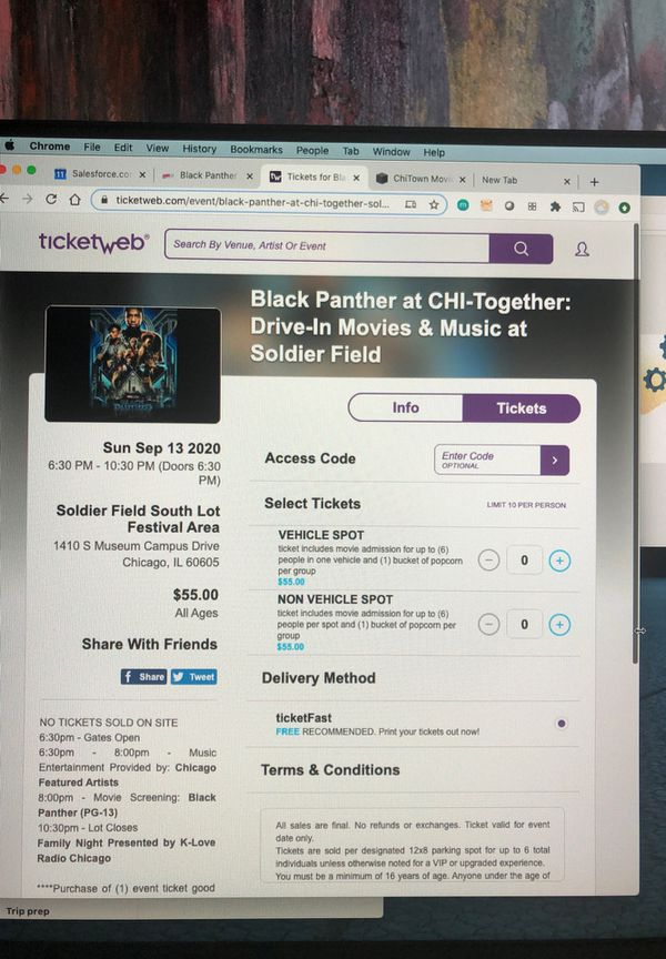 Black panther drive in movie tickets 9/13