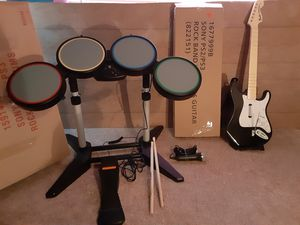 PS2/PS3 Drums and Guitar. Has pedal and microphone for Sale in Austin, TX