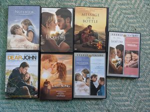 7 Nicholas Sparks DVDs- Gently used for Sale in Cleveland, OH