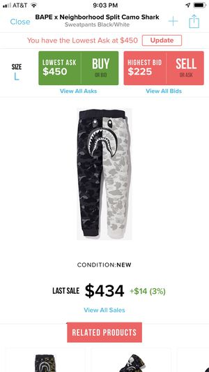 Bape x neighborhood split camo shark sweat pants Sz L DSWT for Sale in Sunnyvale, CA