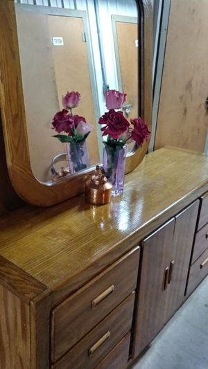 SOLID WOOD BIG DRESSER 9 DRAWERS AND BIG MIRROR for Sale in Fairfax, VA
