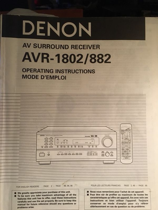 denon avr 1802 882 av surround receiver service manual