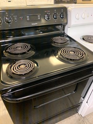 "San Carlos appliances. Sale & services. Used,30"", black color, Hotpoint electric stove, coin burners, great excellent condition for Sale in Campbell, CA"