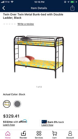 Twin metal bunk bed black for Sale in Houston, TX