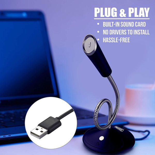 USB Computer Microphone [Plug & Play] for Podcast Vocal Voice Studio Recording - 5ft -Mic Gaming PC YouTube Skype Desktop Laptop Omnidirectional Conde