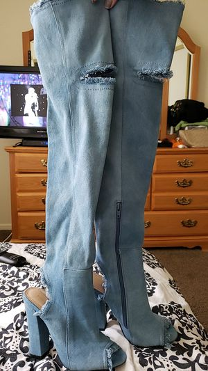 Denim thigh high boot heels for Sale in Henderson, NV