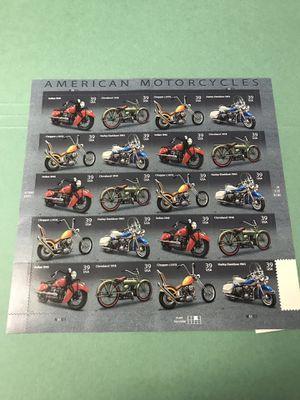 AMERICAN MOTORCYCLES 20 Stamp Sheet Set Indian Harley Chopper for Sale in Pasadena, TX