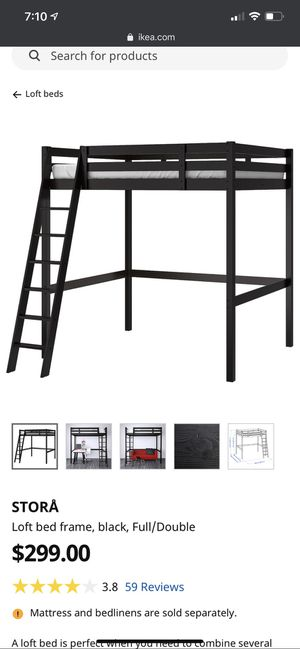 Ikea loft bed frame and slats. Full size bed frame for Sale in Gig Harbor, WA