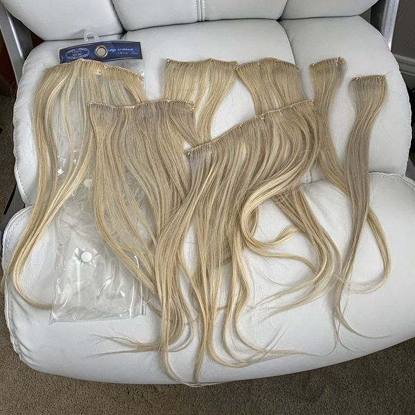 """100% Remy Human Hair Clip-in Platinum Blonde Extensions 14"""""""