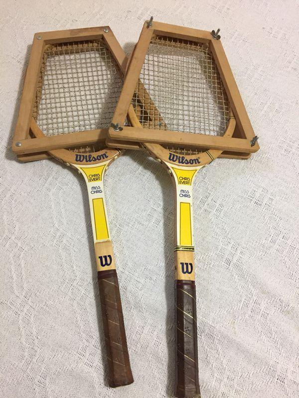 Vintage Tennis Rackets x 2 - Chris Evert