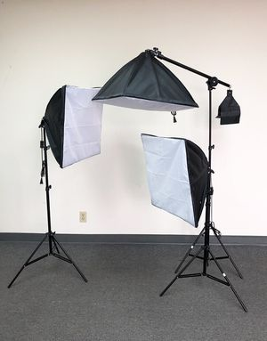 """New $75 Photo Studio Photography Softbox Light Boom Arm Stand Pro Lighting Kit (3pc) 24""""x24"""" for Sale in South El Monte, CA"""