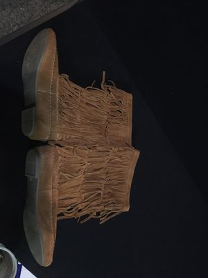 Brown suede leather boots with fringe for Sale in Newberg, OR