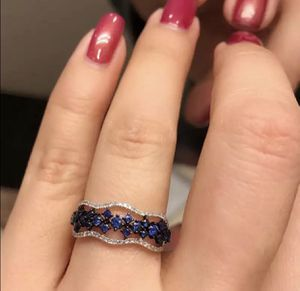 925 sterling silver blue sapphire wedding ring for Sale in North Brunswick Township, NJ