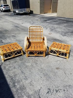 "Vintage Faux Bamboo Outdoor Chair and Two Ottomans that are in great condition! Chair-34""D x 33""H x 29""W Ottoman-27""W x 23""D x 12""H for Sale in Delray Beach, FL"